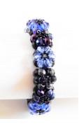 Hatszirmú virágok karkötő, kék mix