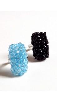 Csiszolt tégla gyűrűk, 2 db-os szett, fekete és türkiz