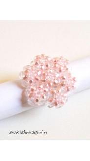 Óriás hópehely gyűrű, rózsa csiszolt