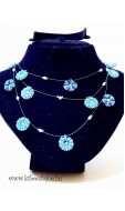 Virágfüzér nyaklánc, türkizkék-türkizzöld-sötétkék-ezüst