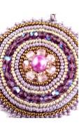 Mandala nyaklánc, lila-bronz