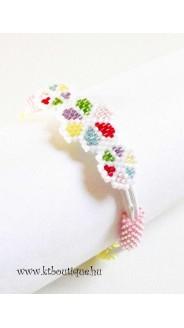 Mini peyote virágos karkötő, színes