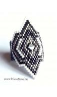 Peyote gyűrű Swarovski kristállyal, fehér-szürke-antik ezüst