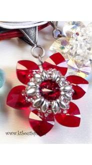 Csillagvirág medál, piros-ezüst