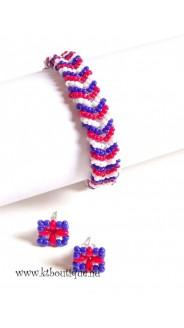 Tennis karkötő és fülbevaló szett, kék-fehér-piros