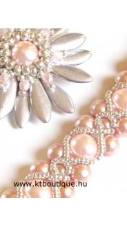 Mini barokk karkötő Margherita nyakláccal, rózsa-ezüst