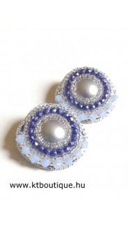 Bedugós fülbevaló, kék-ezüst