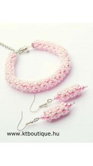 Hálós karkötő szett, rózsaszín-fehér