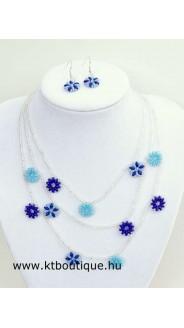Virágfüzér nyaklánc-fülbevaló szett, türkizkék-sötétkék-crystal ab