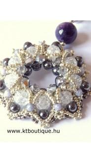 Elda medál Pandora lánccal, ezüst-szürke-kristály