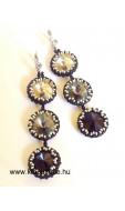 Tripla rivolis fülbevaló, crystal-jet-black diamond