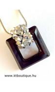 Swarovki négyzetes medál, fekete-ezüst