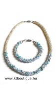 Swari kötél nyaklánc, kék mix-ezüst