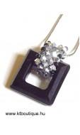 Swarovki négyzetes medál, L, fekete-ezüst