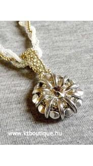 Crescent medál fonott nyaklánccal, ezüst-crystal-fehér