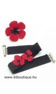 Pipacsos gyűrű-karkötő szett, piros-fekete