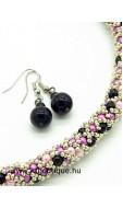 Hálós nyaklánc-fülbevaló szett, ezüst-rózsa-pink-fekete