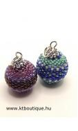 Kis gömböc medál, 2 db-os csomag, lila-zöld-kék