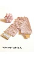 Pettyezett karkötő Óriás hópehely gyűrűvel, halvány rózsaszín