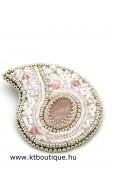 Rózsabimbó bross, rózsaszín-fehér-ezüst