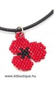 Pipacsos nyaklánc, piros-fekete