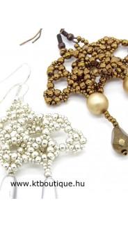 Deco Lotus fülbevaló, bronz és ezüst, 2 db-os készlet