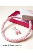 Hálós nyaklánc-fülbevaló szett, rózsaszín-fehér
