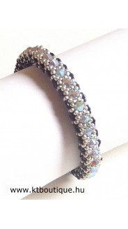 Chinatzu karkötő, fekete-ezüst-black diamond ab2x